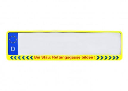 """Kennzeichenhalter 520x110 mm Neongelb """"Rettungsgasse bilden"""""""